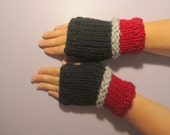 Fingerless Gloves - Black, Red, Grey Hand Knit Fingerless Gloves