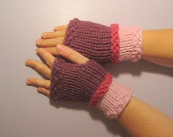Fingerless Gloves - Pink and Plum Hand Knit Fingerless Gloves
