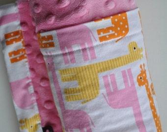 Baby Girl Yellow Pink Orange Giraffe with Pink Minky Blanket, Snuggle Size, XLARGE Minky Blanket
