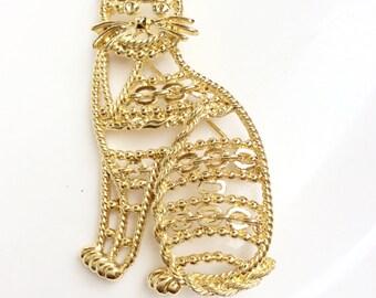 Cat lover brooch chain design large cat brooch AJC designer signed