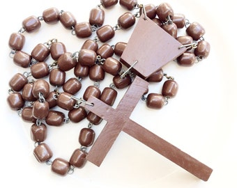 CLEARANCE wall Rosary oversize Wood WALL ROSARY old vintage home rosary Huge rosary