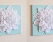 "TWO Wall Flowers - White Dahlia on Light Aqua 12 x12"" Canvases Wall Art- Baby Nursery - Wall Decor-"