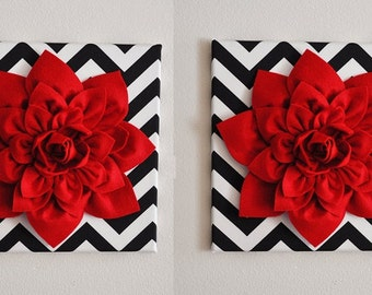 """TWO Red Wall Flowers -Red Dahlias on Black and White Chevron 12 x12"""" Canvases Wall Art- Baby Nursery Wall Decor-"""