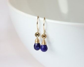Lapis Lazuli Gemstone Gold Wire Wrapped Gemstone Earrings
