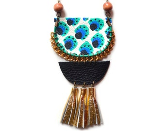 Wood Beaded Statement Necklace, Geometric Leather Necklace in Blue and Emerald Dots, Gold Tassel Necklace, Painted Crescent, Rope Jewelry