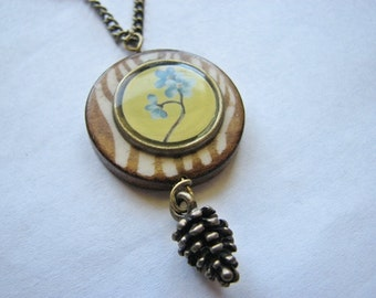 Flower pendant necklace | blue charm | spring | rustic