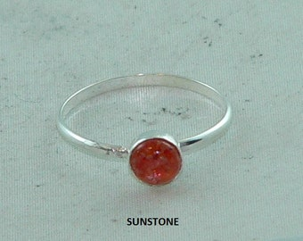 Carolina Sundance  SUNSTONE  Stacking Ring   SUNSTONE Stack Ring Sizes 6 to 9.5    12 Guage Sterling Silver