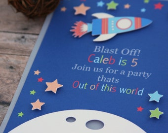 space party invitation, space party invites, rocket ship, blast off invitation, blast off invite, boy party invitation, space invitation