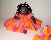 Black Mini Doll Figurine in Orange Zebra Print