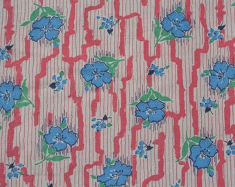 Vintage Feedsack Floral Feed Sack Flour Sack Fabric Blue Flowers Pink Stripes 38 x 44 inches
