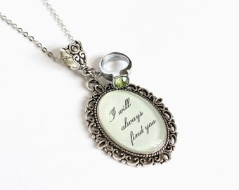 I will always find you necklace with green rhinestone ring charm (OUAT)