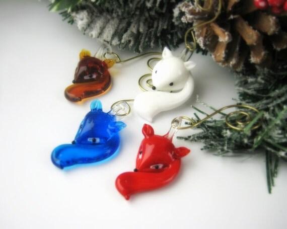 Glass Fox Ornaments