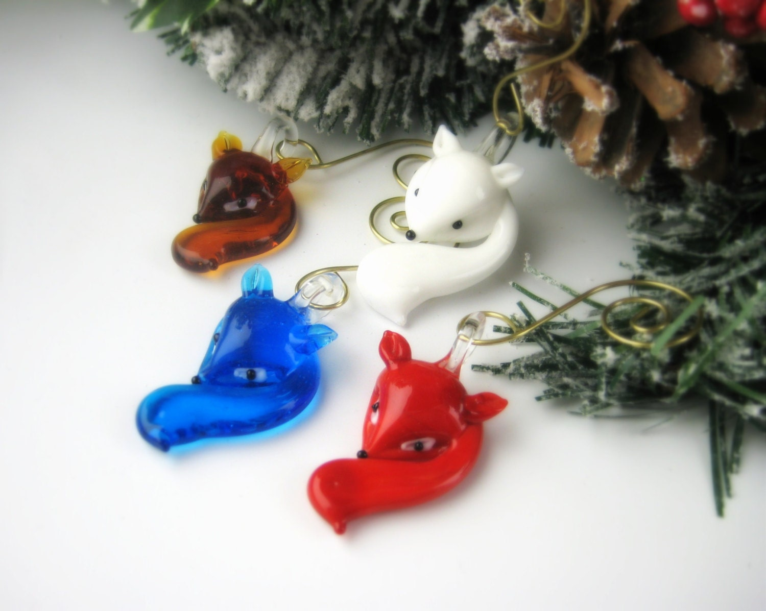 Glass Christmas Ornaments Fox Ornament Sets Christmas Gift Download