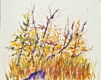 "Autumn Love Birds Landscape Yellow Tree Purple Trunks ""2Birdies-One nest"" ORIGINAL Watercolour - Woodland Trees 10x12 WAS 49 NOW 35"