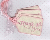 20 Pink Baby Shower Thank You Tags / Gift Tags / Nail Polish Favor Tags / Labels / New Baby / Baby Girl Tags - Vintage Style