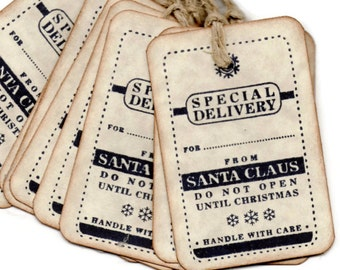 Christmas Tags, Christmas Gift tags, Special Delivery From Santa - Vintage Style - Hand stamped - Set of 6