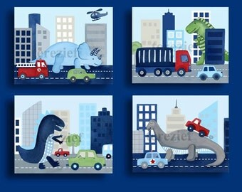 Dinosaur art prints, dinosaur nursery art, children nursery art, dinosaur wall art, dinosaur decor, boy nursery wall art
