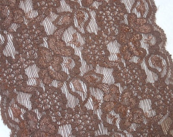 """2 yards Chocolate  Brown  galloon floral scalloped stretch lace 5.75"""" wide"""