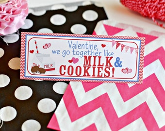 Valentine's Day Treat Bag Topper / Personalized Treat Bag Toppers / Boy's Milk and Cookies Treat / Milk and Cookies Valentine Card Exchange