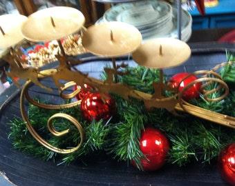 Santa Sleigh Candle Holder Metal  UNDER 20