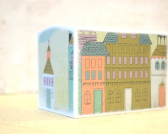Small Village Wood Bank, Kids Money Banks Coin Bank, Kids Room Decor, Nursery,  Coin Box, Coin box, Little village, Pastel, Hot air balloon