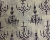 French Couture From Four Seasons - Full or Half Yard Black Chandeliers on Mottled Cream Taupe
