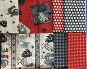 Poulets de Provence from SPX Fabrics - 14 Fat Quarters + Panel Rooster Fabric Black Gray Cream Red
