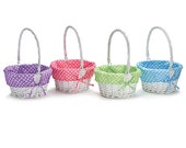 White Easter Basket with Personalized Polka Dot Lining