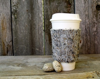 Coffee Cup Sleeve, Coffee Mug Cozy - Cable Knit Coffee Cup Cozy in Soft Grey Tweed