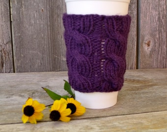 Coffee Cup Cozy, Coffee Mug Cozy - Cable Knit Coffee Cup Sleeve in Eggplant Purple