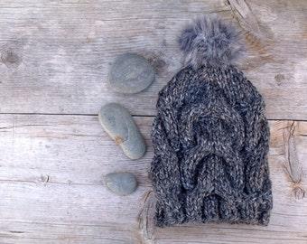 Charcoal Grey Slouchy, Chunky Beanie Hat with Dark Grey Faux Fur Pom Pom, Women's Hat, Winter Hat, Cable Knit Hat with Pom Pom, Pom Pom Hat