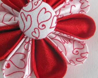 Valentine's Cartoon Hearts Silk Flower Pin Red and White Kanzashi