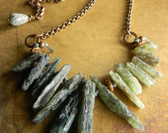 Green Necklace Rustic Copper Kyanite Boho Southwestern Tribal Jewelry