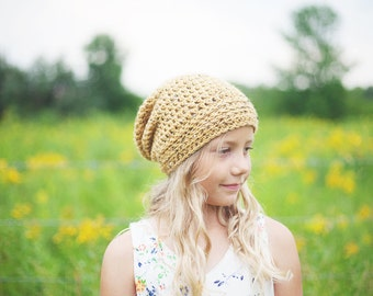 Toddler Hipster Beanie, Yellow Toddler Slouch Hat, Slouchy Hat for Girls, Crochet Toddler Hat for Boy or Girl, 12 Months to 4T (Morgan)