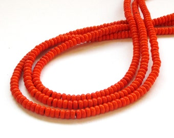 Orange Beads - Rondelle Gemstone - Small Howlite Beads - Roundelle - 4mmx2mm - Full Strand - Jewelry Beading - Diy Fall Autumn Jewelry