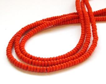 Orange Beads - Rondelle Gemstone - Small Howlite Beads - Roundelle - 4mmx2mm - Full Strand - Jewelry Beading - Diy Craft Supplies