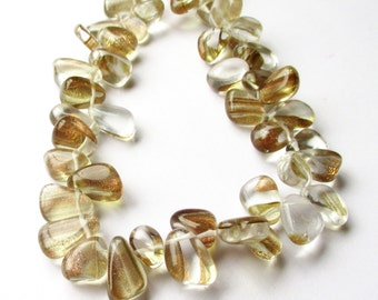"Rutilated Quartz Beads - Golden Smooth Pear Briolettes - Sparkling Glass Beads - Top Drilled - 7.5"" Strand - 10mm -15mm - DIY Jewelry Making"