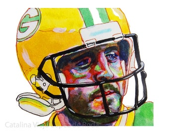 Aaron Rodgers Green Bay Packers Painting Reproduction Print 8.5 x 11