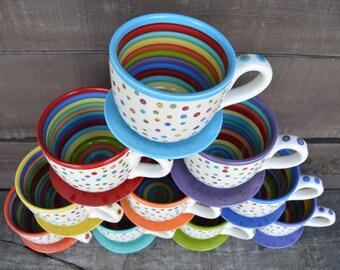 Bumpy Mug - Super Awesome Dots and Stripes Ceramic Coffee or Soup Mug - 30 oz. - OOAK Hand Painted Mug - Ready to Ship