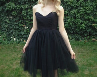 Black tulle dress low back peaked neckline cotton and tulle party dress bridemaids dress