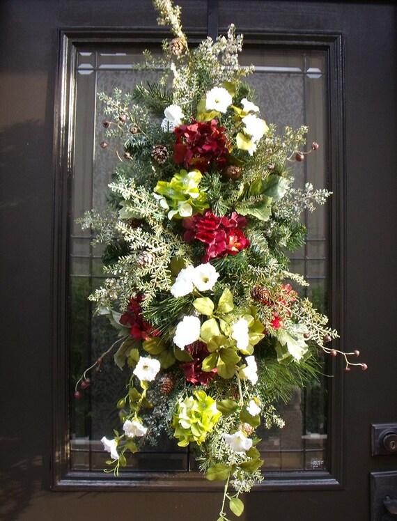 Holiday Swag Winter Wreath Christmas Swag Wreath Burgundy