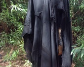 SPECIAL ORDER Jim showdiva designs Asymmetrial Leather Cape Coat Poncho Deerskin Rosebuds n Tattered
