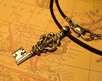 Free Shipping, Leather Necklace, Key, Mens Necklace, Mens Jewelry, Mens Gift, Pendant, Distresed Cord