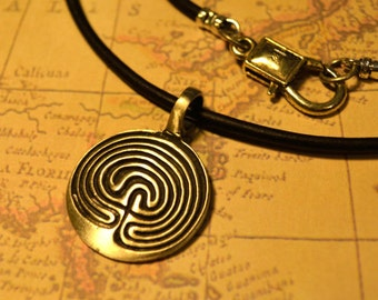 Free Shipping, Leather Necklace, Line Circle Symbol, Mens Necklace, Mens Jewelry, Mens Gift, Pendant, Distresed Cord