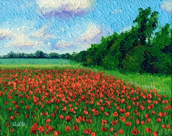 Giclee print, Field of Poppies, 8 x 10 in.
