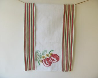 Vintage Cross Stitch Tea Towel  Fruit, Cherry
