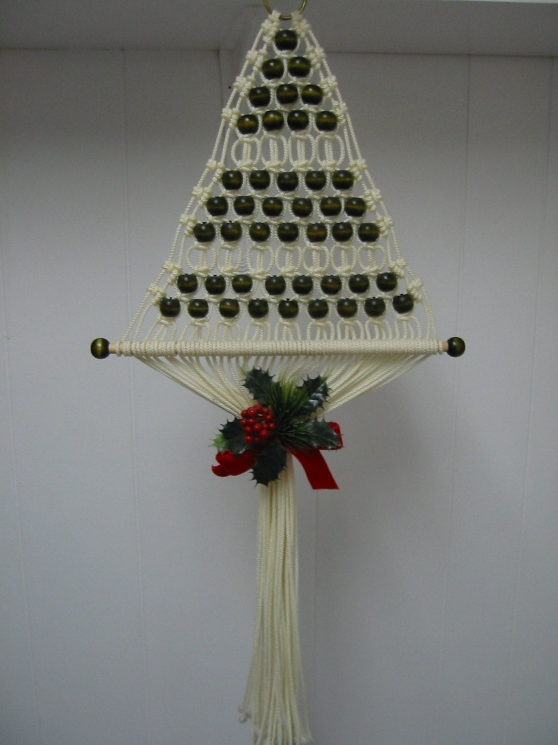 Vintage Macrame Christmas Tree Wall Hanging From The