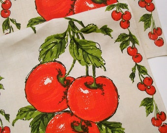 Two Cheery Vintage 100% Linen Tea Towels with Bright Red Cherry Motif