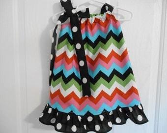 Girls pillowcase dress multi color chevron with ruffle infant thru 6 years
