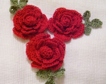 3 roses flowers red appliques scrapbooking sewn on home decor handmade embellishments